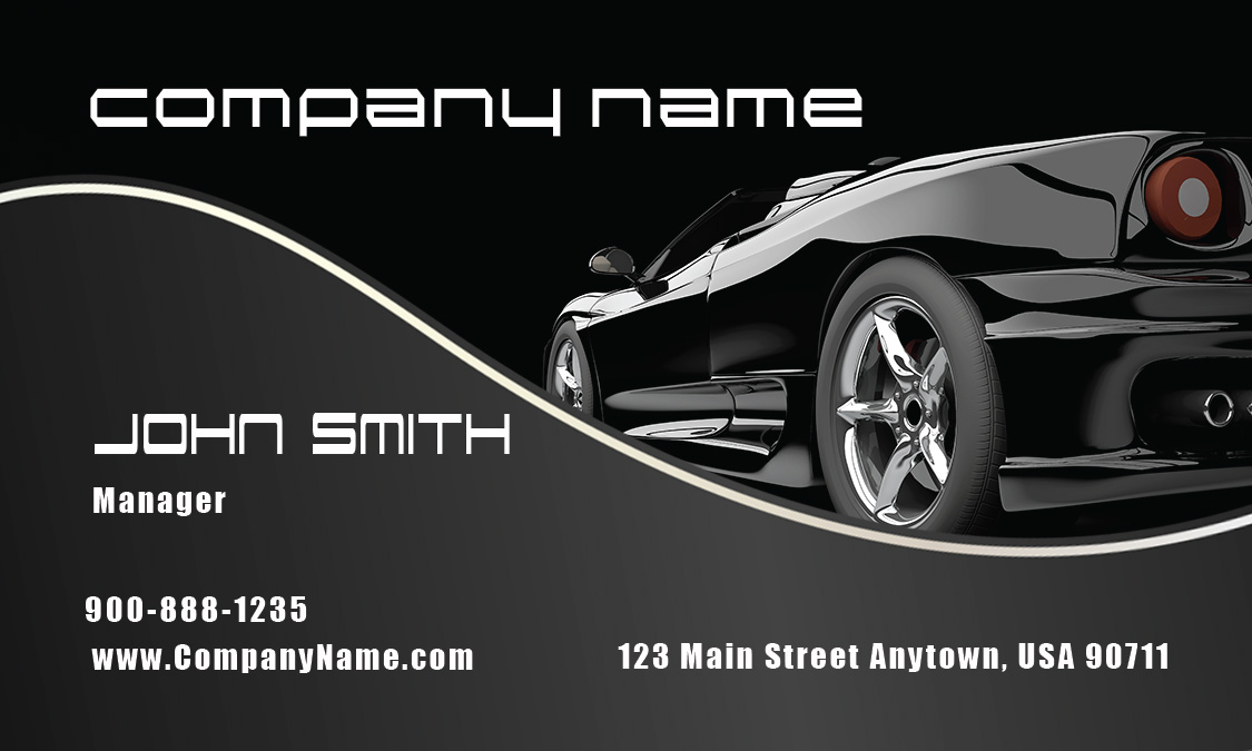 Stylish black corvette automotive business card design for Corvette business cards