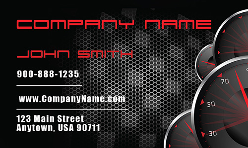 Black Carbon Fiber Textured Racing Car Business Card - Design #501061