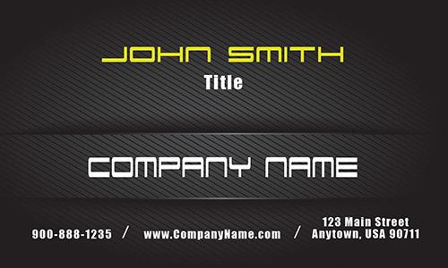 Yellow on Black Carbon Car Business Card - Design #501181