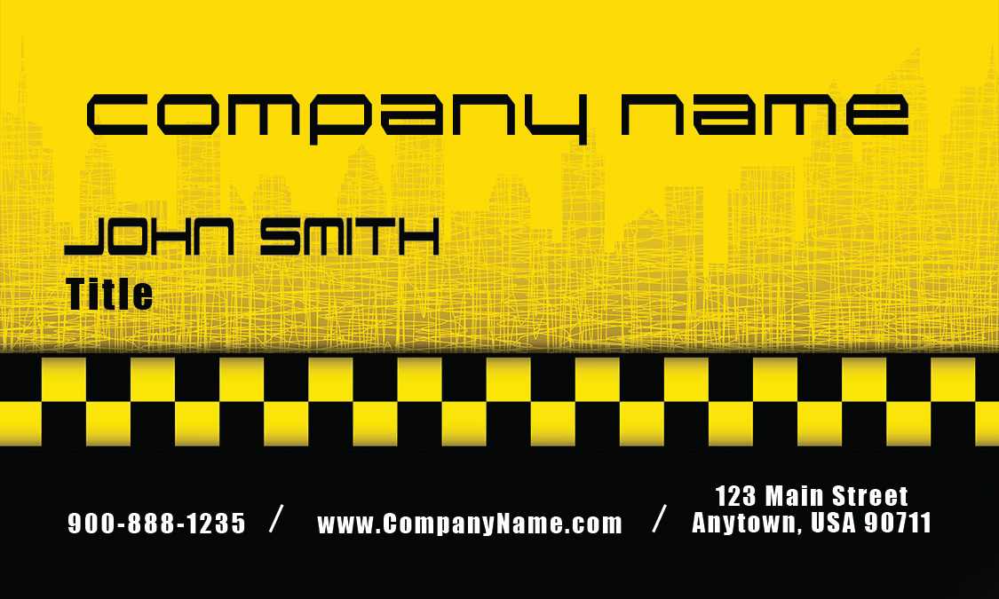 licensed cap driver yellow taxi business card design 501191. Black Bedroom Furniture Sets. Home Design Ideas