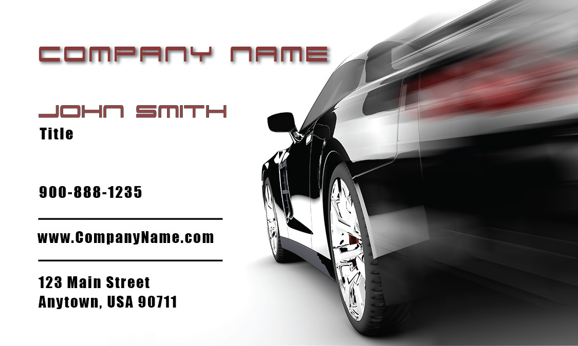 Black racing car auto dealer business card design 501201 colourmoves