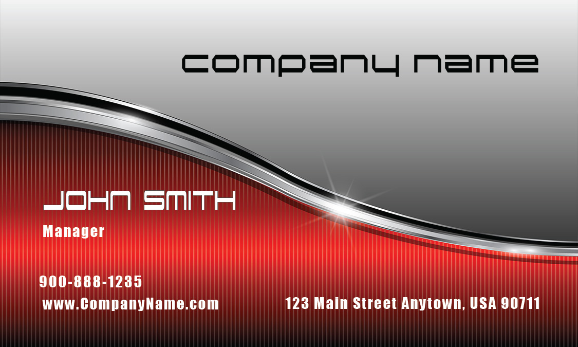 Silver And Red Stainless Car Business Card Design 501301