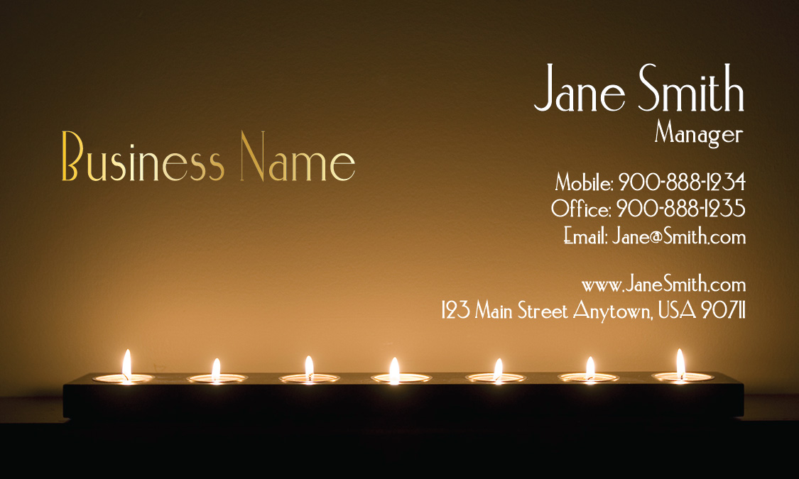 candles spa and massage business card