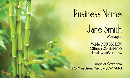 Green Bamboo Florist Business Card - Design #601041
