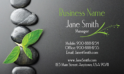 Leaf And Stones Mage Spa Business Card Design 601051