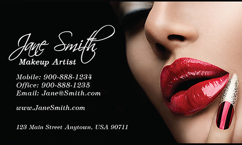 Elegant silver damask hair stylist business card design 601151 red lips beautician and makeup artist business card design 601131 colourmoves Choice Image