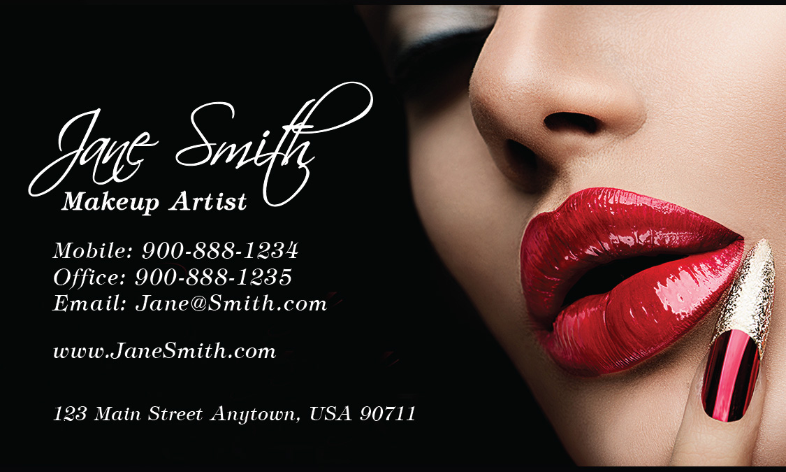 Red lips beautician and makeup artist business card design 601131 accmission