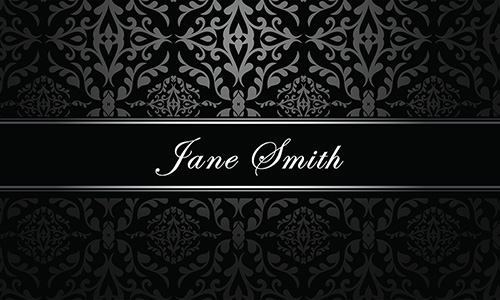 Elegant Silver Damask Hair Stylist Business Card - Design #601151