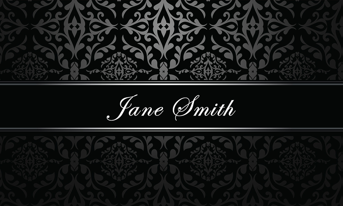 Silver Damask Hair Stylist Business Card - Design #601151