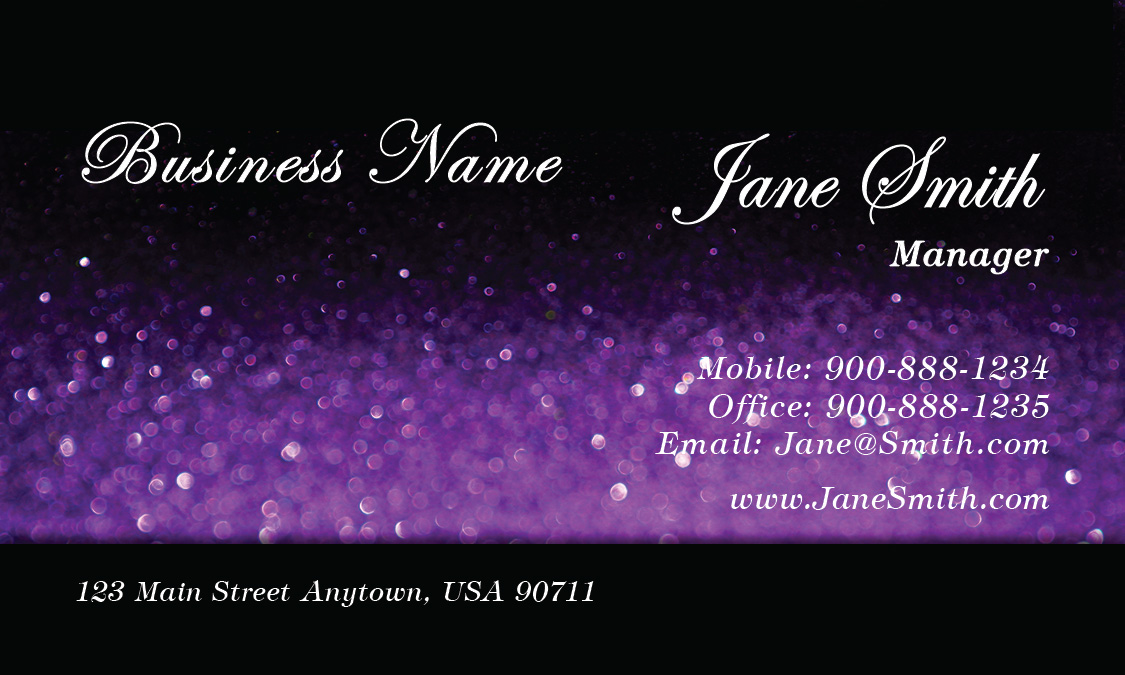 Artist Cosmetician Purple Beauty Glitter Business Card - Design ...