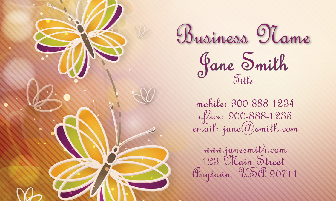 Butterfly Cheerful Beauty Business Card - Design #601301
