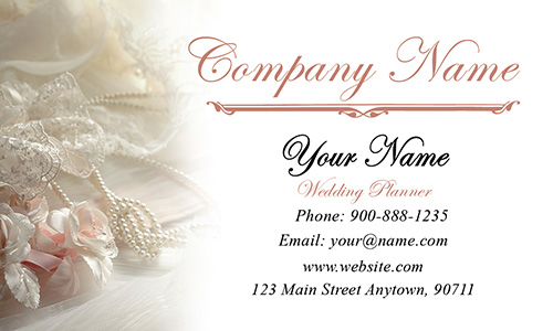 Roses and Pearls Wedding Business Card - Design #701011