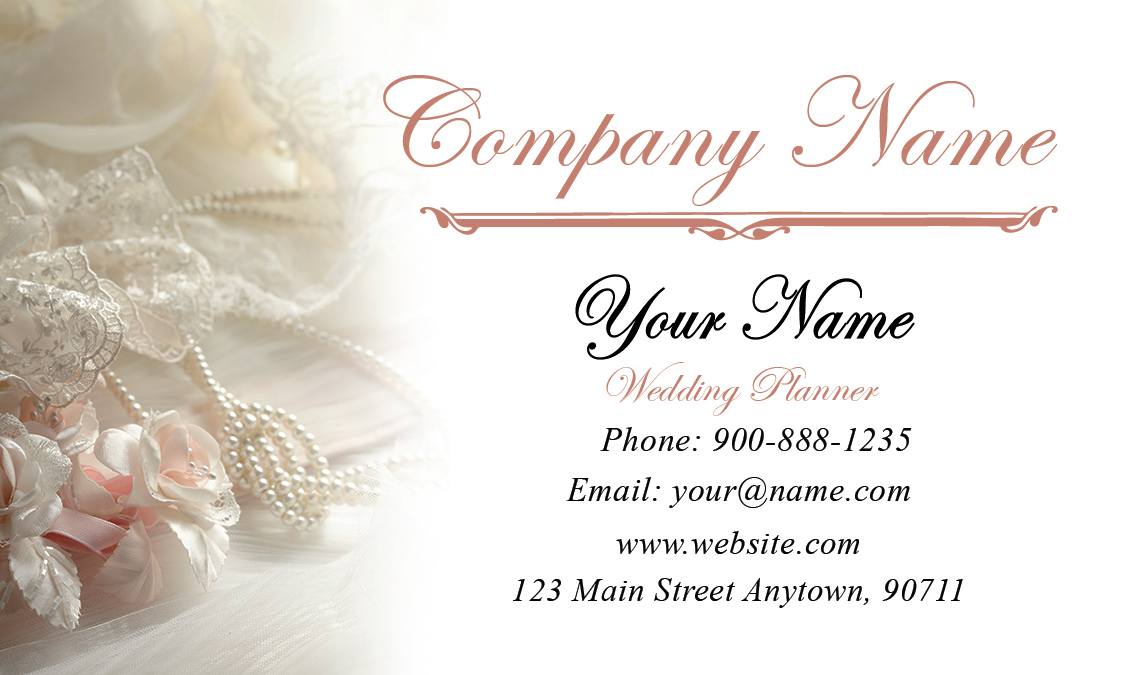Wedding business cards ukrandiffusion roses and pearls wedding business card design 701011 friedricerecipe Images