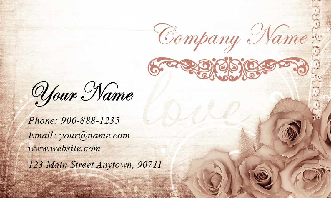 Vintage Roses Wedding Planner Business Card Design 701021