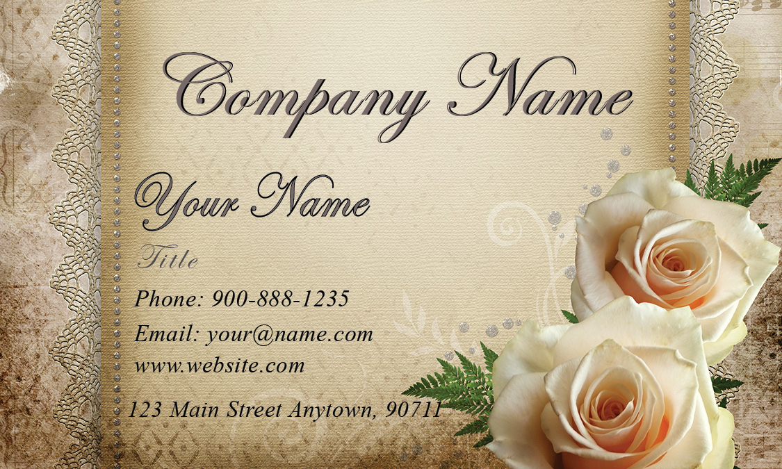 Roses Wedding Floral Business Card Design - Wedding business card template