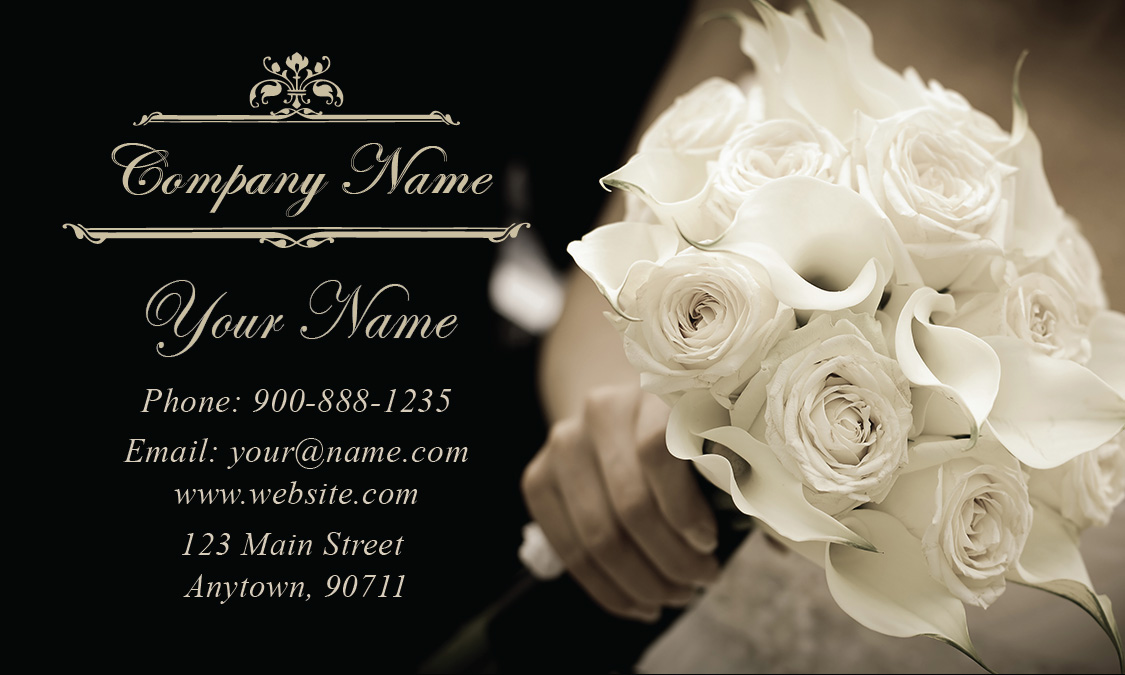 Black And White Wedding Bouquet Business Card