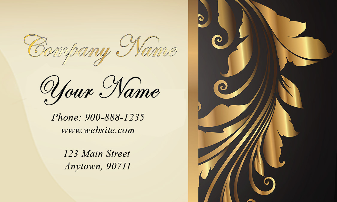 Gold And Black Wedding Business Card Design 701181