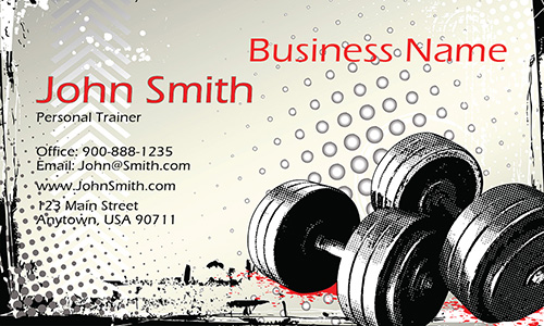 Abstract Dumbbells Body Building Sport Business Card - Design #801021
