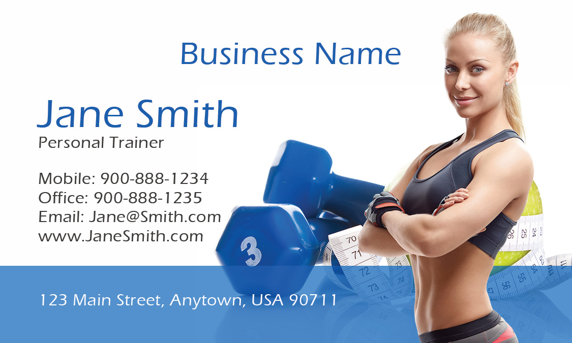Fitness sport business cards templates women personal trainer photo business card design 801031 women fbccfo Images