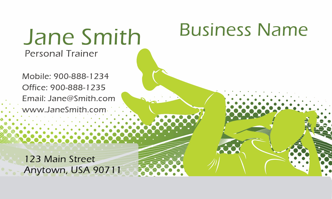 athletic personal trainer business card design 801081. Black Bedroom Furniture Sets. Home Design Ideas