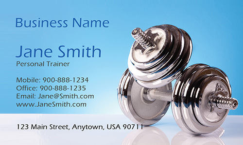 Dumbbells Health Club Business Card - Design #801131