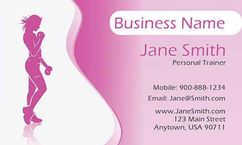Pink Girly Personal Trainer Business Card - Design #801171