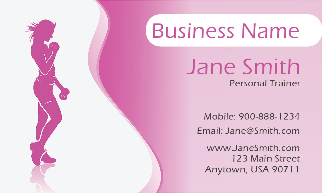 Girly Personal Trainer Business Card Design - Personal trainer business card template