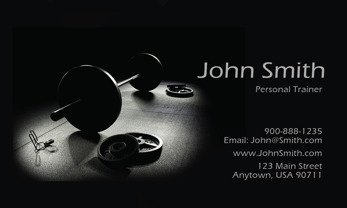 Gym Themed Trainer Business Card Design - Personal trainer business cards templates