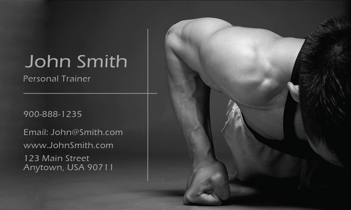 Sport Gym Themed Trainer Business Card Design - Personal trainer business cards templates