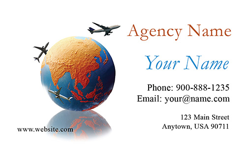 Globe and Airplane Tourism Business Card - Design #901021