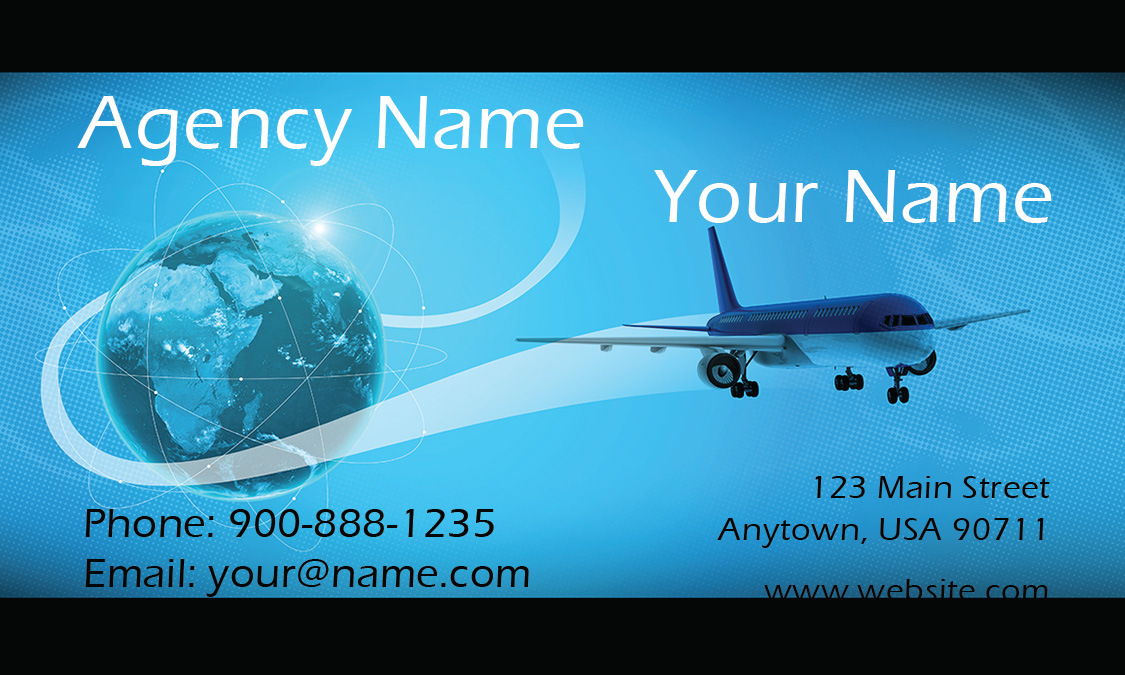 Airplane and globe travel agent business card design 901051 colourmoves