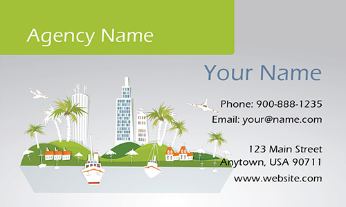 Cruise and Palm Trees Travel Agent Business Card - Design #901061