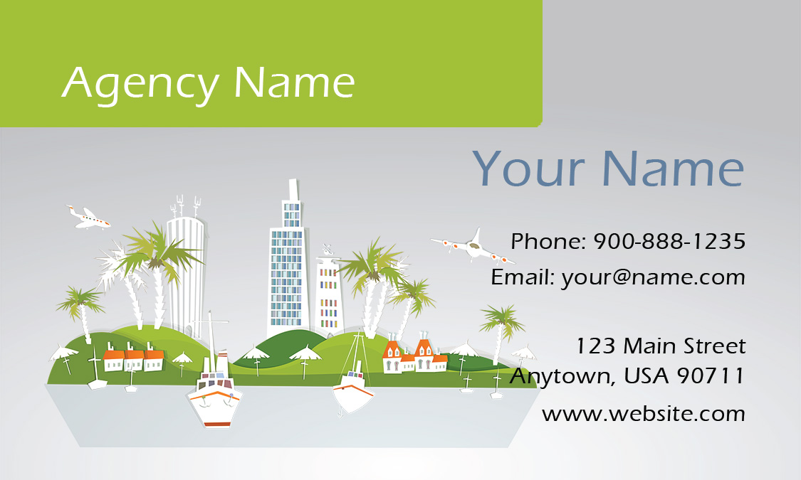 and Palm Trees Travel Agent Business Card - Design #901061