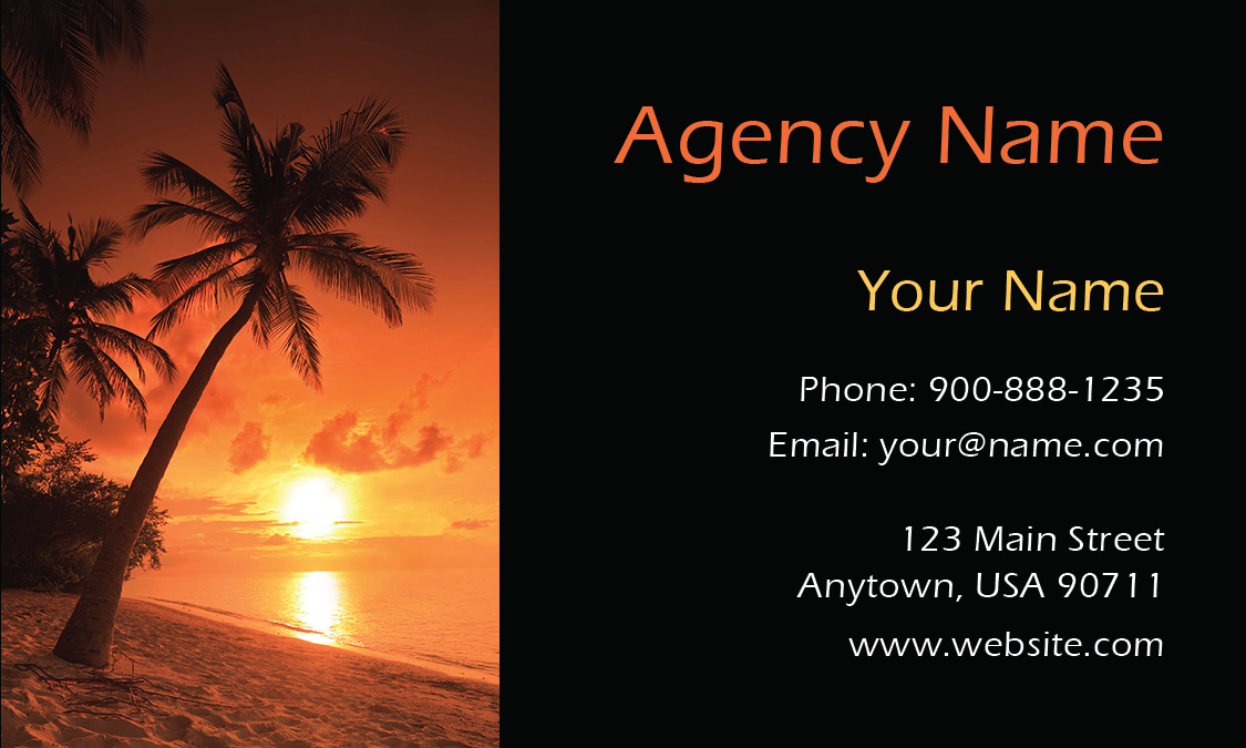 Palm Tree Sunset Tourism and Travel Agency Business Card - Design ...
