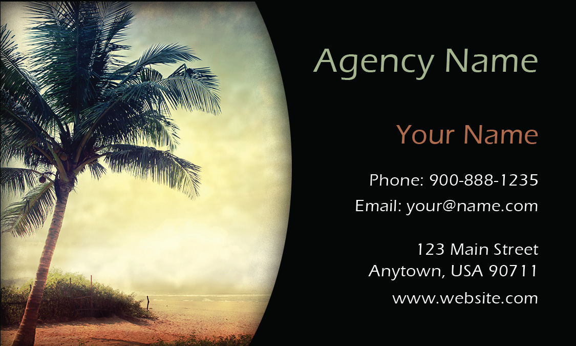 Palm Tree Travel Agency Business Card - Design #901121
