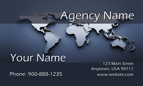 Modern World Map Travel Business Card - Design #901201