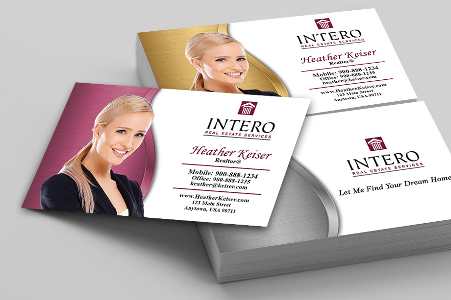 Intero real estate services business cards printifycards intero real estate services agent business cards colourmoves Images
